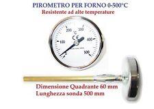 PIROMETRO TERMOMETRO PER FORNO BIMETALLICO CON SONDA DA 50 cm PROFESSIONALE