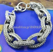 NEW Silver Chunky Pave Link Chain Classic Bracelet with 1,500+ Crystals