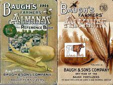 RARE 1910/1914 BAUGH'S FARMER'S ALMANAC TWO COPIES FERTILIZER COMPANY FIRST