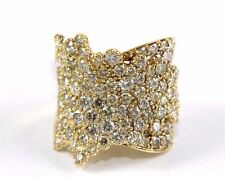 Round Diamond Wide Cluster Pave Fold Ring Band 14k Yellow Gold 4.48Ct