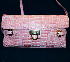 Lord and Taylor Coral Leather Embossed Croc Alligator Clutch Crossbody Handbag