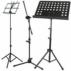 Height Adjustable Foldable Music Orchestral Book Paper & Mic Holder Tripod Stand