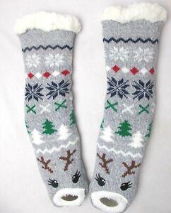 Holiday House Slipper Socks Charter Club Women's  Reindeer Fleece Lined Size S/M