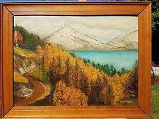 LAGO MONTAGNE scena dipinto ad olio firmato T (?) Hampson