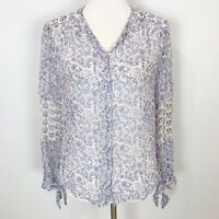 REBECCA TAYLOR Women's Size 4 Blue & Purple Floral SILK TOP Semi-Sheer Long Slv