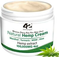 Natural Pain Relief Hemp Cream 100,000mg Menthol, Turmeric, MSM, Aloe- 4oz