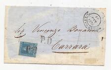 Z722-TOSCANA-LETTERA DISINFETTATA DA LIVORNO A CARRARA 1854