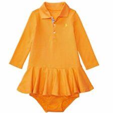 Ralph Lauren Baby Mädchen langarm Polo Kleid Unterhose  Pink Orange Weiß 80 86