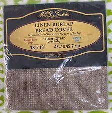 New Linen Burlap 18 Ct Metallic Bread Cover Mcg Textiles 18 X 18 Made In Usa