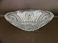 Vintage Pressed Glass Oval Serving Bowl With Sawtooth Rim