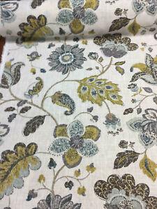 Robert Allen Spring Mix Aloe Jacobean Floral Linen Fabric By the yard