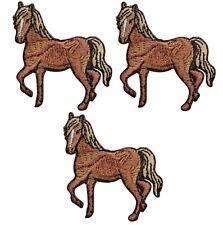 """Horse Applique Patch - Equestrian Horseback Riding Badge 1-5/8""""(3-pack, Iron on)"""