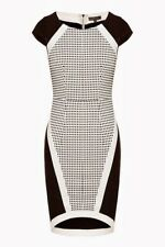 Sheike Size 6 Fitted Dress Black & White Cocktail Corporate Body Con