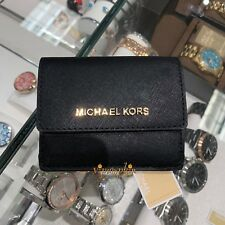MICHAEL KORS JET SET TRAVEL CARD CASE ID KEY HOLDER WALLET LEATHER BLACK