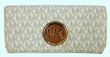 ** MICHAEL KORS FULTON Signature Vanilla Carryall Leather Wallet Msrp $148.00