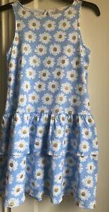 J.CREW Crewcuts Girls' Tank Dress With Tiered Skirt Daisy Blue Gold Print Sz 10