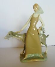 Large Lladro Girl With Goat And Pitcher In Pristine Condition # 4590