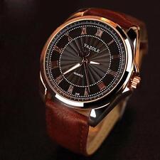 Mode für Männer Datum Leder Edelstahl Militärsport Quarz Armbanduhr Noble Watch
