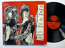 DAVID ALLEN the song of songs and other love poems LP Spoken Word Poetry  #281
