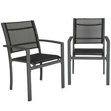 Set di 2 sedie da giardino poltrona campeggio metallo arredo grigio scuro nuovo