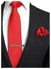 Red Solid Color Formal Necktie, Pocket Square, and Tie Clip Set for Men