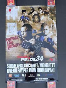 PRIDE FC 34  SIGNED Wanderlei Silva Poster JAPANESE UFC, One fC