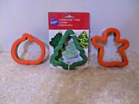 3 Wilton Stainless Cookie Cutters Comfort Grip Ghost,Pumpkin,Christmas Tree 1998