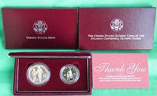 1995 Proof 2 Coin Olympic Blind Runner Silver Dollar Basketball Half Dollar Box