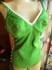 XL True Vtg 70s GREEN STRETCH KNIT MOD Bathing Suit ONE PIECE