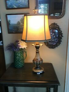 Lightly Distressed Rustic Table Lamp Bronze Gold Highlights Square Shade