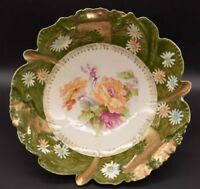 RS Prussia Steeple Mold 17 Serving Bowl Green Heavy Gold Cabbage Roses
