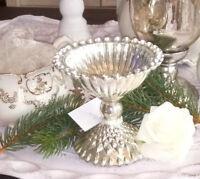 Schale auf Fuß Silber Glas 11x10cm Shabby Vintage Landhaus Brocante