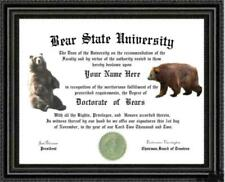 Bear Lover's Diploma / Degree Custom made a 00004000 nd Personalized for you