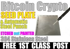 Crypto BITCOIN ETH 12-word SEED PLATE for Wallet Recovery.  FREE 1ST CLASS POST