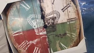 12 Uhren Posten  größe 32 cm durchmesser Wanduhren Kreidefarbe Look