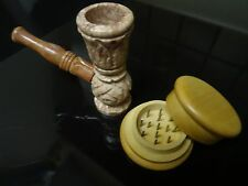 Hookah Style  Stone Pipe >,Detachable Stem .Grinder contains no glass (107G)