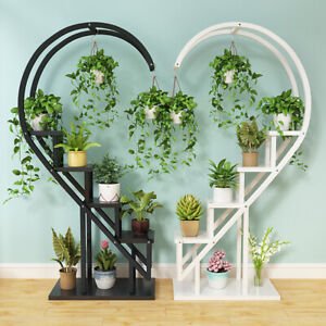Heart Ladder Plant Stand Flower Potted Shelf Half-Heart Display Holder Wedding