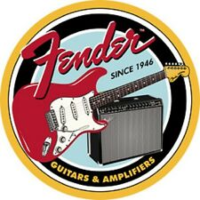 Fender Guitars And Amplifiers Since 1946 Round TIN SIGN Metal Wall Decor