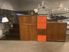 Mid Century Modern George Nelson Style Walnut & Metal Cabinets Desk Shelving