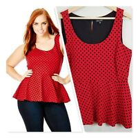[ CITY CHIC ] Womens Flocked Spot Peplum Top | Size S or AU 16 / US 12