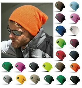 Mens Ladies Slouch Beanie Hat Knitted Woolly Oversized Hat Cap Skateboard Beenie