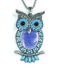 NEU 90cm HALSKETTE EULE mit PERLEN & STRASSSTEINE blau/türkis OWL Collier UHU