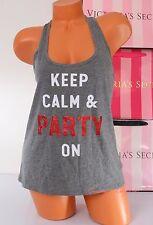 NWT Victoria's Secret Top VS Tank Cotton blend Wide Straps Sequins Print M Gray
