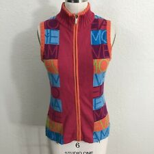 Neve Full Zip Sweater Vest Sz S Pink Blue Orange Cotton/Wool Blend