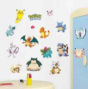 POKEMON Pocket Monster PIKACHU WALL STICKER Vinyl Decals Mural Kids Room UK 2P