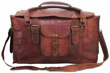 Real men's genuine brown leather luggage duffle travel gym sport overnight bag
