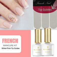 Pink White Nail Gel Polish French  Kit Set with Tip Guides Decorations