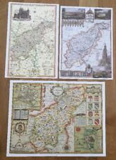 3 x Old Antique Colour maps of Northamptonshire, England: 1600s & 1800s: Reprint