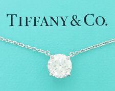 Tiffany & Co 1.26 ct Platinum Diamond Solitaire Necklace H / VVS2 Ideal Cut B&P