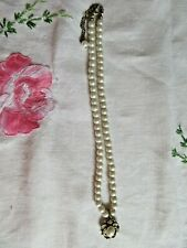PEARL  NECKLACE WITH RHINESTONE & PEARL DROPLET